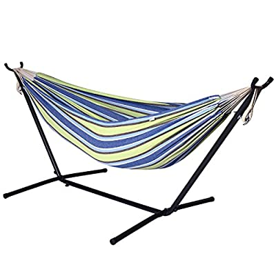 Camping Hammock with Stand - Double Hammock Swing, 2 Person Brazilian Style, for Garden, Outdoor & Indoor, Portable for Travel Vacation, Space Saving Steel Frame