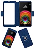 Acm SVIEW Window Designer Rotating Flip Flap Case Compatible with Lg X Power K220dsz Mobile Smart View Cover Stand Blue