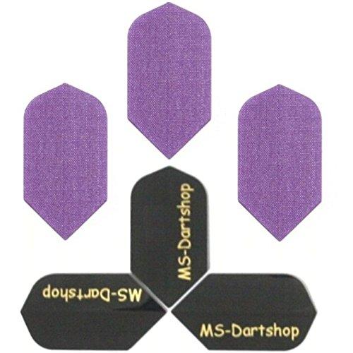 MS-DARTSHOP Dart-Flights Nylon Slim, 3 Sätze = 9 Stück, incl. 1 Satz MS-DARTSHOP Flights (Lila)