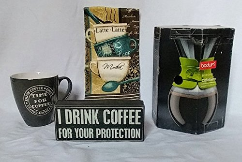 Bodum Pour Over Coffee Maker with Permanent Filter and Black Band, 34 Ounce, I Drink Coffee for Your Protection Box Sign, Time for Coffee 16 oz. Cup and Latte, Mocha, Capp Dish Towel Bundle - 4 piece