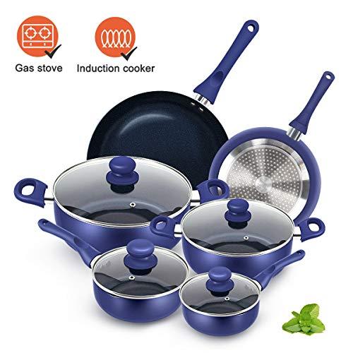 KUTIME 10pcs Cookware Set Non-stick Pots and Pans Set Blue Pan Non-stick Frying Pan Set Ceramic Coating Saucepan Stockpot with Lid, Gas, Induction Compatible
