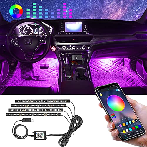 Winzwon Car Led Lights Interior 4 Pcs 48 Led Strip Light for Car with USB Port APP Control for iPhone Android Smart Phone Infinite DIY Colors Music Microphone Control