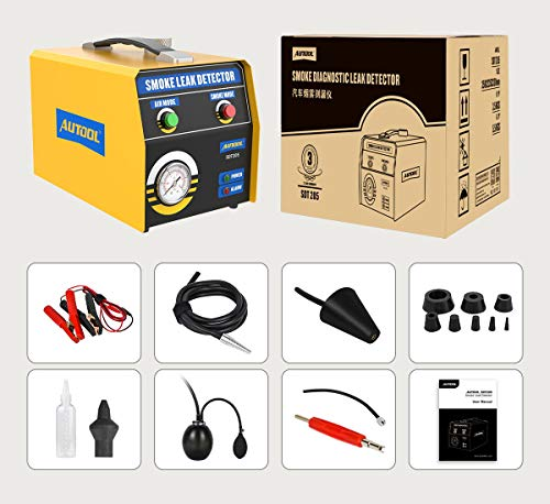 AUTOOL. SDT205 Rauchleckdetektor, 2-Modus-Kraftstoffleckdiagnosetester für Kraftfahrzeuge, Leckagetester für Rohrleitungssysteme, EVAP-Lecksucher für 12-V-Fahrzeuge