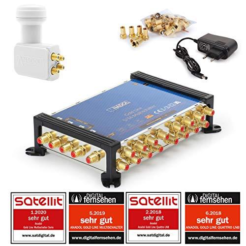 LNB + MULTISCHALTER Set: Anadol Gold Line 5/16 digitaler Multischalter [ Test SEHR GUT ] für 1 Satellit und 16 Ausgänge/Receiver + Anadol Quattro LNB [Test 2X SEHR GUT] 29 vergoldete F-Stecker gratis