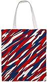 MODORSAN Bolso de hombro patriótico rojo blanco y azul Bolso de mano de lona, Bolsos de tela reutilizables para compras de comestibles, Bolsos de mano con impresión de doble cara