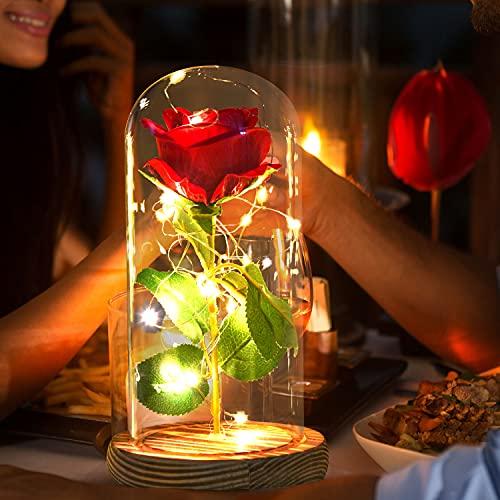 Jobosi Forever Rose, el mejor regalo para una amiga, regalo de cumpleaños, rosa de cristal, luz de rosa, decoración de habitación