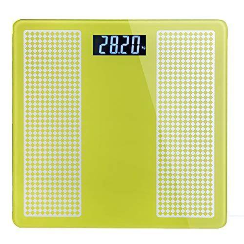 Báscula de baño de medición de temperatura con visión nocturna de vidrio templado de precisión de escala electrónica (4 colores) (Color : Amarillo)