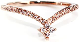 "Excelsia ""Regina 14K Rose/White Gold-Plated CZ Crystal Ring"