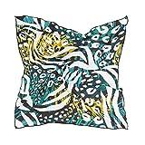 QMIN Bufanda cuadrada de seda Animal Zebra Tiger Leopard Print Pañuelo de moda ligero abrigo para el pelo diademas de cuello ordenado bufandas para mujer, 60 x 60 cm