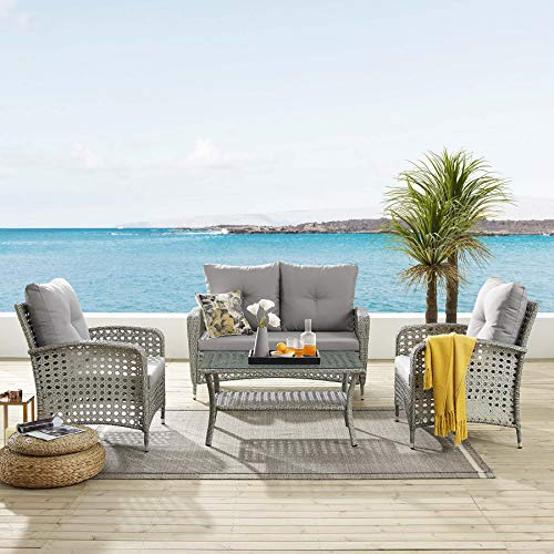 Tribesigns 4 PCS Patio Furniture Sets, Outdoor PE Wicker Rattan Patio Sofa Conversation Set with Tea Table and Washable Couch Cushions for Garden, Backyard, Poolside, Balcon (Light Gray)