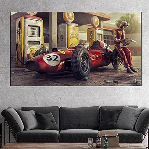 Cuadro en Lienzo Pintura al óleo de Carreras Retro Carteles e Impresiones de Pintura en Lienzo Para Niños y Coches Clásicos Decoración Moderna Para el Hogar (80x160cm sin marco, A)