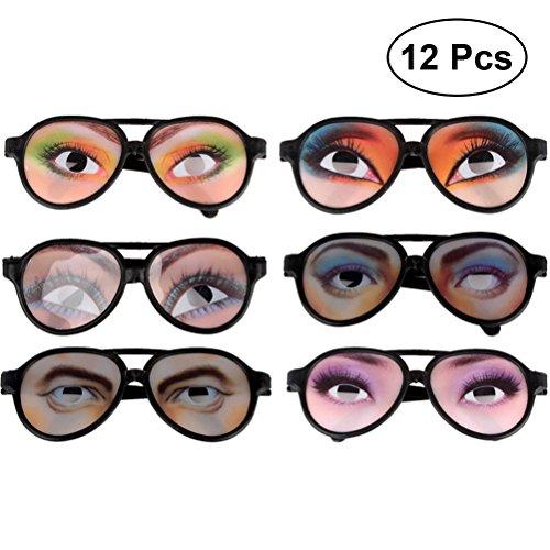 STOBOK 12PCS Gafas de Sol Divertidas Marco Ojos Gafas Holiday Festival Halloween Party Eyewear (Estilo Aleatorio)