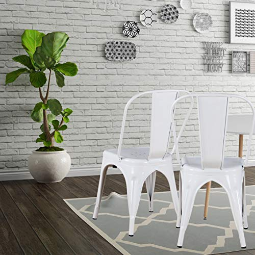 Modern Mid-Century Dining Kitchen Metal Side Arm Chair Copper Bronze Rustic Distressed Dining Bistro Cafe Stackable Side Chair,Set of 4 (4White)