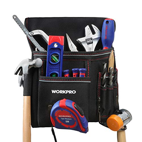 WORKPRO Heavy Duty Tool Pouch with Adjustable Belt, Multiple Pockets, Tape Measure Clip and Hammer hook, for Woodworking (Tools Excluded)