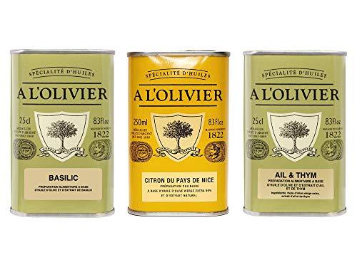 A l\'Olivier - 3er-Set Olivenöle - Olivenöl mit Basilikum, Olivenöl mit Zitrone, Olivenöl mit Knoblauch & Thymian - 3 x 250 ml