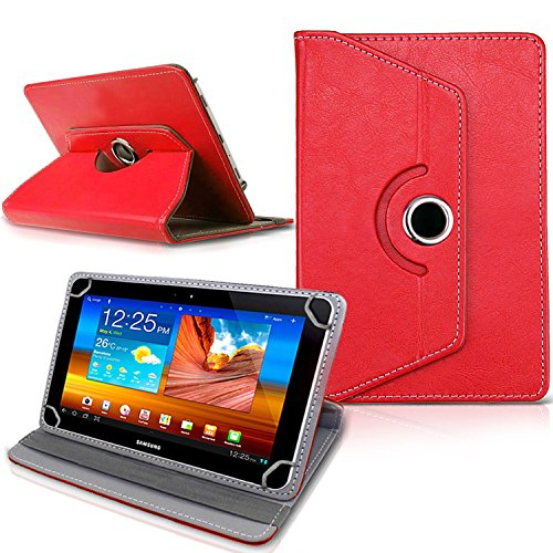 Connect Zone PU Leather Case Cover with Universal 10 inch 360 Rotating for Various Design Stand Folio Fits All Android Tablets Devices - Red Rotating