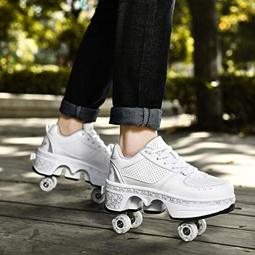 YXHUI Pattine A Rotelle, Scarpe con Rotelle Pattini A Rotelle Retrattile Retrattile 4 Ruote Skateboard Sneakers Scarpe Sportive con Rotelle,Silver-EU37/UK4