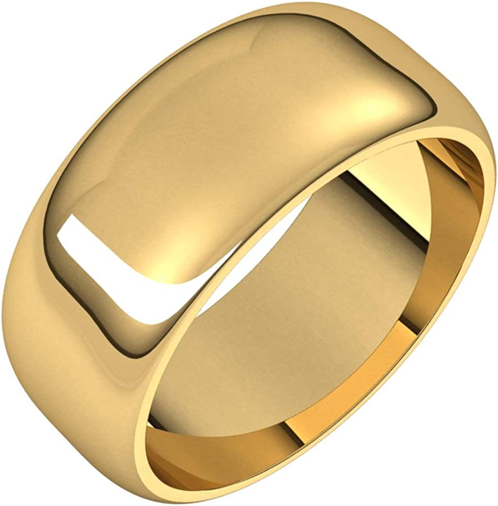 14k Manufacturer OFFicial shop Yellow Gold 8mm Half Round discount Wedding Bridal Band 9 Size Ring