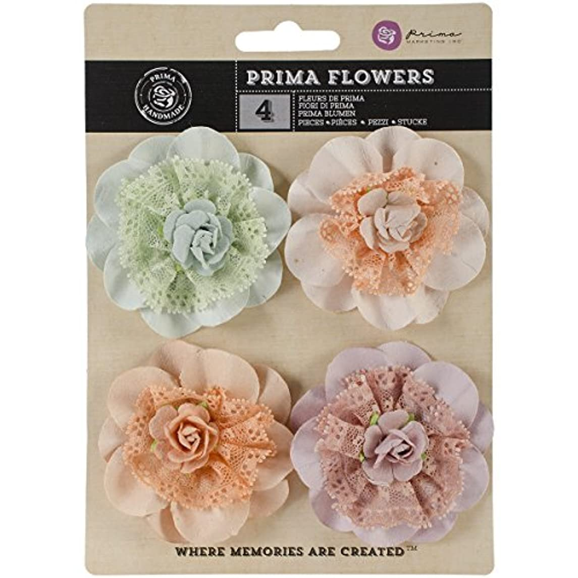 Prima Marketing VEN-57724 Forget Me Not Venice Fabric and Paper Flowers, 2.5-Inch, 4-Pack