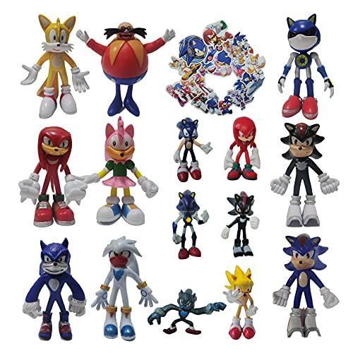 XIANGQIAN Conjunto de nueve figuras grandes + un juego de seis figuras pequeñas Sonic The Hedgehog anime figura de muñeca de moda