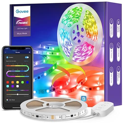 Govee Tira LED 5m Bluetooth, Luces LED RGBIC Decorativas de Efecto de Arcoíris, Control Segmentado Individual y DIY por App con Modo de Música y Escena, para Habitación, Sala de Estar, Fiesta, Bar