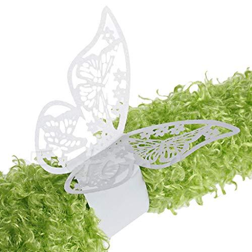 Fogun 50 x Schmetterling Papier Serviettenring für Hochzeit, Taufe, Kommunion, Graduierung, Geburtstag, Weihnachten, bankett oder Verschiedene Anlässe (Weiß)