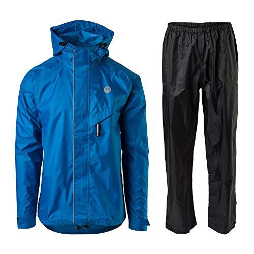 AGU Essential Passat Regenanzug, Regenkleidung Fahrrad Herren & Damen, Wasserdicht & Reflektierend, 100% Recyceltes Polyester, Unisex - M - Blau