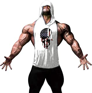 Gym Men's Hoodie Vest, MmNote Independence Day Muscle Fitness Workout Athletic Technology Soft Lightweight Sleeveless Vest