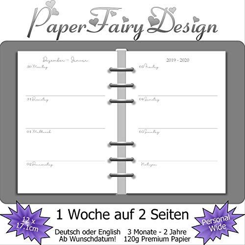 Kalendereinlagen 2020/2021/2022 - Personal Wide (12cm x 17,1cm) - 1 Woche auf 2 Seiten - 120g Premium Papier