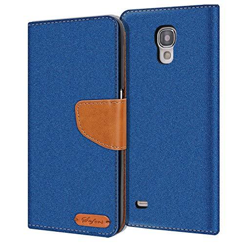 Conie Samsung Galaxy S4 Mini Hülle für Galaxy S4 Mini Tasche, Textil Denim Jeans Look Booklet Cover Handytasche Klapphülle Etui mit Kartenfächer, Blau