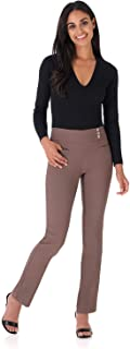 REKUCCI Women's Ease Into Comfort Everyday Chic Straight Pant w/Tummy Control and Button Waist Detail 4 Mocha