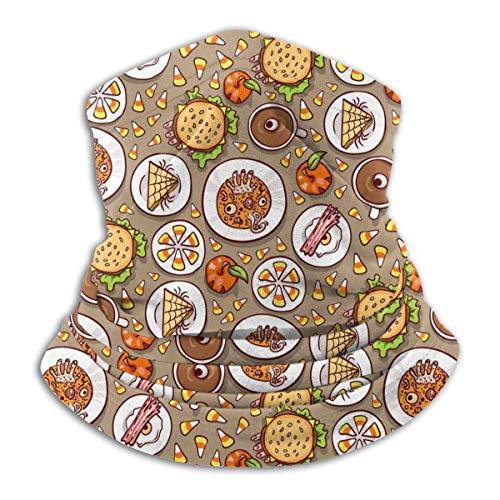 Lawenp Bufanda de la cara del calentador del cuello del clima frío del patrón de la comida de Halloween para los hombres y las mujeres