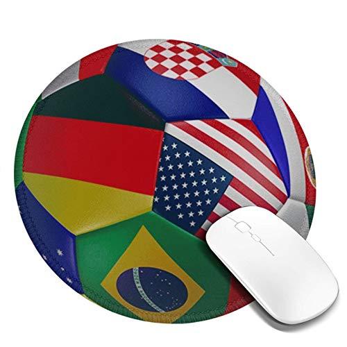 LQKSSLBO Redondo Alfombrilla De Ratón Balón de fútbol de fútbol 2018, Alfombrilla Gaming, Base De Goma Antideslizante para Gamers, Pc Portátil Mouse Pad, 20cm