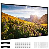 72 inch Projector Screen, 16:9 HD 4K Foldable No Crease Portable Video 70 Projection Movie Screen Grommets for Outdoor Indoor Home Theater