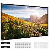 Pantalla para Proyector 72 pulgadas, 16:9 HD 4K plegable, sin pliegues, vídeo portátil, 70 Pantalla de proyector pequeños ojales de proyección para cine en casa al aire libre
