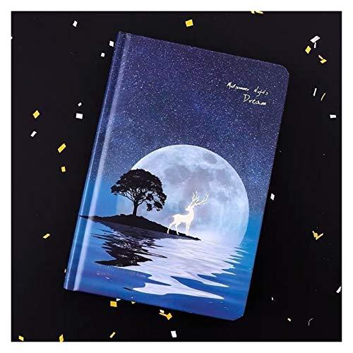 Chenhan Diario Notebook A5 Starry Noctilucent Night Night Notebook Diario Sketchbook Agenda Diario Cuaderno 128 Papelería de Hoja Cuaderno (Color : A, tamaño : 18.8CM X 12.8CM)