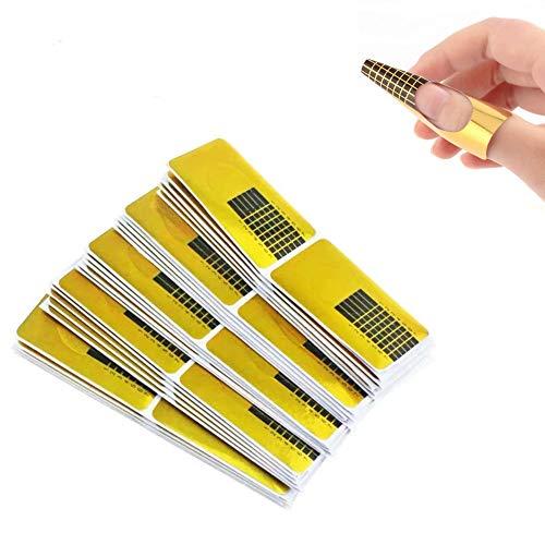 Nagel-Schablonen (200 Stück), Verlängerung Golden Schablonen für die künstliche Fingernagel-Modellage Schablone selbstklebend Golden Schablonen