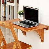 Mesa Plegable Mesa Plegable de bambú de Pared Mesa abatible de Pared 60 * 40cm Escritorio para portátil Flotante Plegable para lavandería/Bar Familiar/Sin Silla