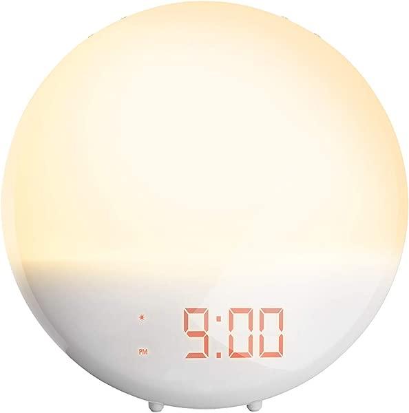 PICTEK Sunrise Alarm Clock Night Light Digital Alarm Clock For Bedroom 20 Brightness Levels Wake Up Light LED Alarm Clock FM Radio Bedside Lamp Dual Alarms 6 Sounds 12 24 Hour Snooze Adapter