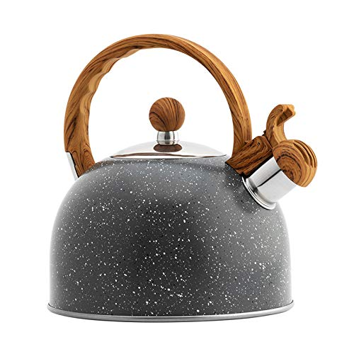 LQKYWNA Hervidor de té, 2.3 cuartos de galón, hervidor de agua silbante, tetera de acero...