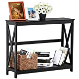Yaheetech 2 Tier X-Design Occasional Console Sofa Side Table Bookshelf Entryway Accent Tables Storage Shelf Living Room Entry Hall Table Furniture, Black