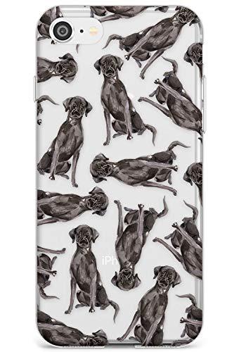Case Warehouse Patrón Negro de Labrador Perro Acuarela Slim Funda para iPhone 6 TPU Protector Ligero Phone Protectora con Transparente Mascota Claro Amante De Los