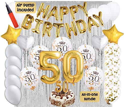 50th Birthday Party Balloons and Decoration Bundle - 44 Pieces Party Supplies and Balloons All in One Set - Gold Happy Birthday Balloons, 50 Number Balloons, Air Pump