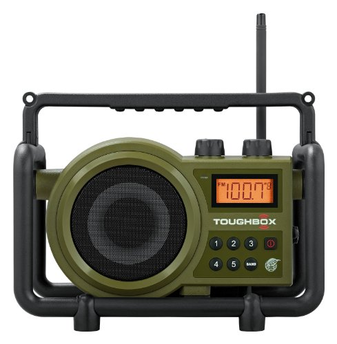 Sangean TB-100 TOUGHBOX FM/AM/Aux Ultra-Rugged Digital Rechargeable Radio, Green