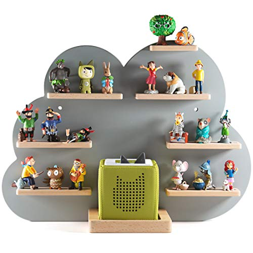 NOR28 Tonie Regal für bis zu 33 Tonie Figuren - Toniebox Regal im Motiv Wolke 40x55x19cm für Jungen und Mädchen | Kinderzimmer Regal für Tonies magnetisch, beliebig fixierbar
