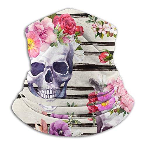 fuwahahah The Skull With Beautiful Flowers Unisex Polaina de cuello de microfibra multifuncional a prueba de polvo, pasamontañas, bandanas faciales para clima frío deportes al aire libre