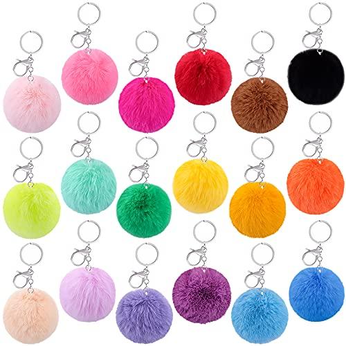 BQTQ 18 Stück Schlüsselanhänger Bommel Plüsch Pompom Ball Anhänger Fellbommel Kunstfell Bommel für Mützen Taschen Zubehör, 18 Farben