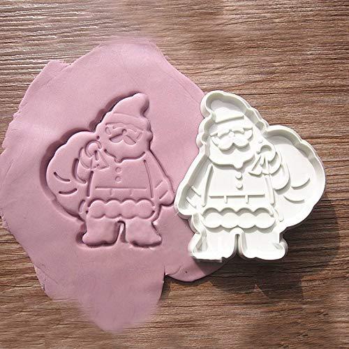 FEIYI Juego de 3 moldes 3D para fondant de Navidad, molde de chocolate, pastelería, decoración de árbol, muñeco de nieve, galletas, molde para hornear