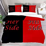 BOLIMAO 3 Pieces Her Side and His Side Black Red Duvet Cover Set (1 Duvet Cover + 2 Pillowcases) King Size Breathable Bedding Sets Room Decor for Adult Women Men Teens