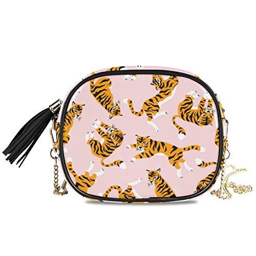 LAZEN Quaste Top Reißverschluss für Frauen Mädchen mit abnehmbaren Kettenriemen Handtasche Umhängetasche Drucken niedlichen Tiger